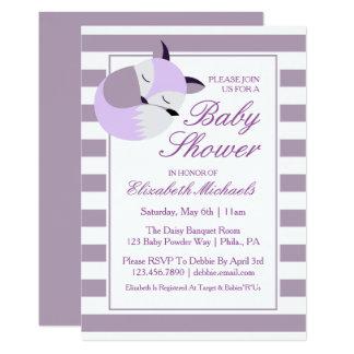 Purple Baby Shower Fox Card