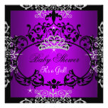 Purple Baby Shower Girl Princess Tiara Black Lace Invitations