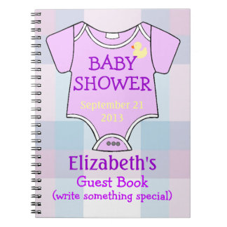 Purple Baby Shower Guests Spiral Note Book