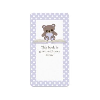Purple Baby Teddy Bear & Book Gift Bookplate Label Address Label