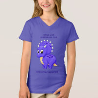 Purple Baby Triceratops Girls Like Dinosaurs Too T-Shirt