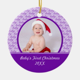 Purple Baby's First Christmas Photo Ornament