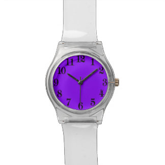 Purple Back To The 70's Clear Lucite Retro Watch! Wristwatches