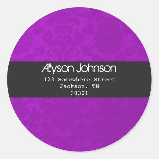 Purple Background Address Labels Round Sticker