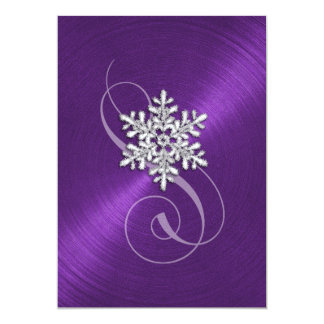Purple Background Snowflake with Swash Card