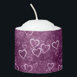 "Purple background white hearts votive candle<br><div class=""desc"">White hearts on a purple background</div>"