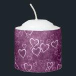 "Purple background white hearts votive candle<br><div class=""desc"">White hearts on a purple background</div>"
