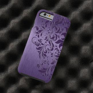 Purple Background With Deep Purple Floral Lace Tough iPhone 6 Case