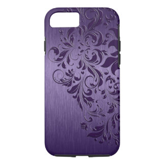 Purple Background With Deep Purple Floral Lace iPhone 7 Case