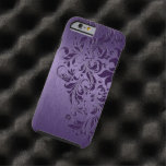 Purple Background With Deep Purple Floral Lace Tough iPhone 6 Case