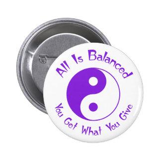 Purple Balance Yin Yang Button