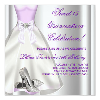 Purple Ball Gown High Heel Shoes Quinceanera Card
