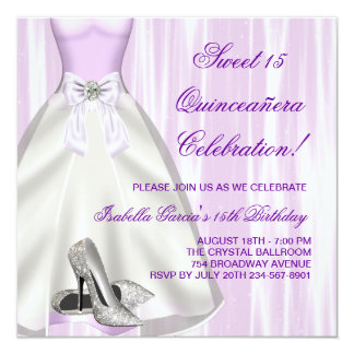 Purple Ball Gown High Heel Shoes Quinceanera Invitation