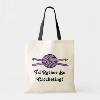 Purple Ball of Yarn Crochet Hooks Canvas Bag
