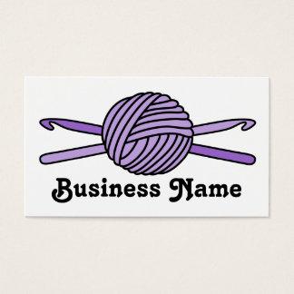 Purple Ball of Yarn & Crochet Hooks Business Card