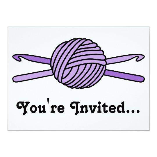 Purple Ball of Yarn & Crochet Hooks Card