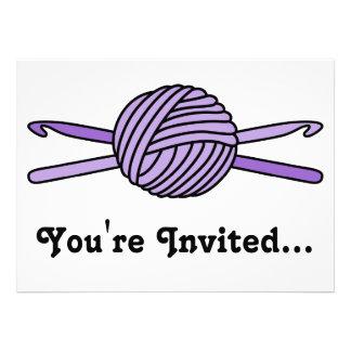 Purple Ball of Yarn & Crochet Hooks Custom Announcement