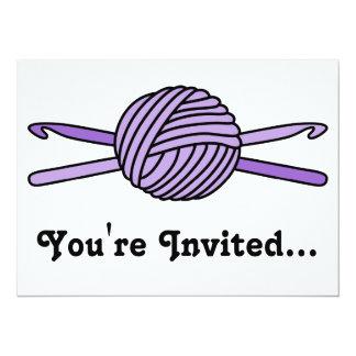 "Purple Ball of Yarn & Crochet Hooks 5.5"" X 7.5"" Invitation Card"