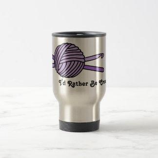 Purple Ball of Yarn & Crochet Hooks 15 Oz Stainless Steel Travel Mug