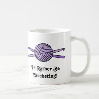 Purple Ball of Yarn & Crochet Hooks Coffee Mugs