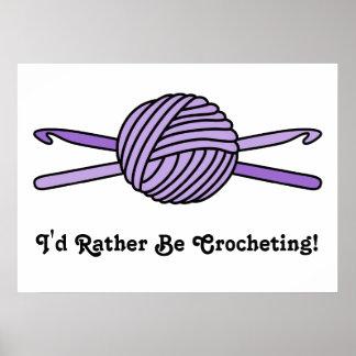 Purple Ball of Yarn & Crochet Hooks Poster