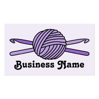 Purple Ball of Yarn & Crochet Hooks (Purple Back) Business Card