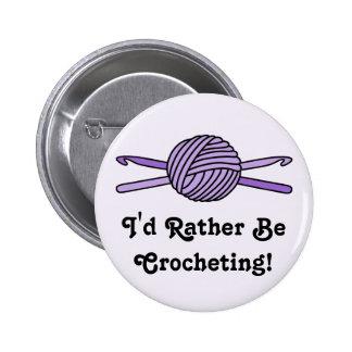 Purple Ball of Yarn & Crochet Hooks (Purple Back) 2 Inch Round Button