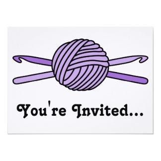 "Purple Ball of Yarn & Crochet Hooks (Purple Back) 5.5"" X 7.5"" Invitation Card"