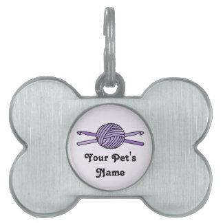Purple Ball of Yarn & Crochet Hooks (Purple Back) Pet ID Tag