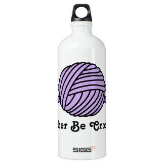Purple Ball of Yarn & Crochet Hooks Water Bottle