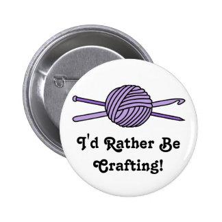 Purple Ball of Yarn (Knit & Crochet) 2 Inch Round Button