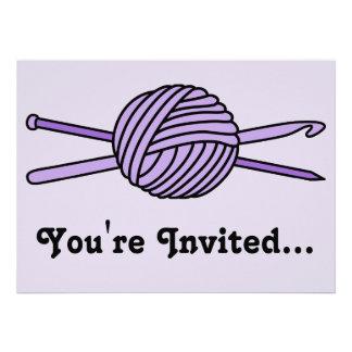 Purple Ball of Yarn (Knit & Crochet) Custom Announcements