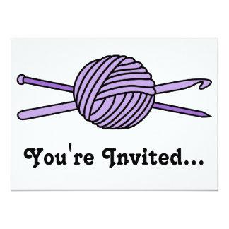 "Purple Ball of Yarn (Knit & Crochet) 5.5"" X 7.5"" Invitation Card"