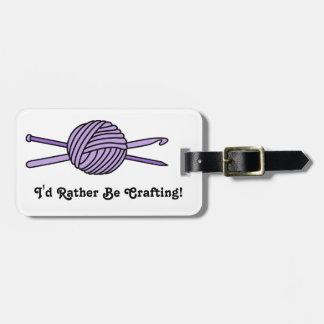 Purple Ball of Yarn (Knit & Crochet) Luggage Tag