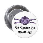 Purple Ball of Yarn (Knit & Crochet) Pinback Button