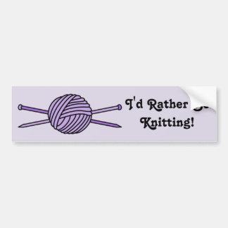 Purple Ball of Yarn & Knitting Needles Bumper Sticker