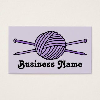 Purple Ball of Yarn & Knitting Needles Business Card