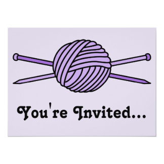 Purple Ball of Yarn & Knitting Needles Card