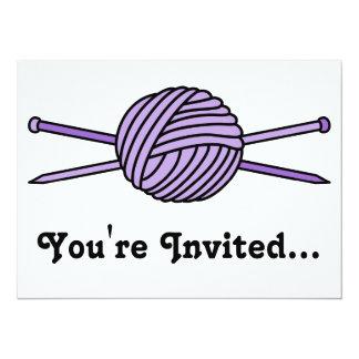 Purple Ball of Yarn & Knitting Needles Card