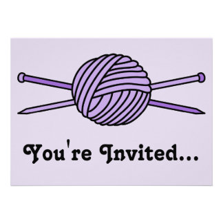 Purple Ball of Yarn & Knitting Needles Personalized Announcement