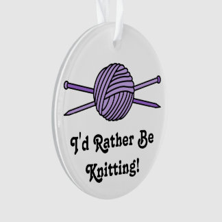 Purple Ball of Yarn & Knitting Needles Ornament