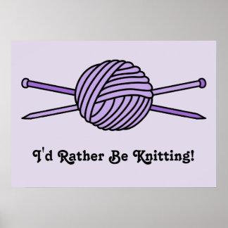 Purple Ball of Yarn & Knitting Needles Poster