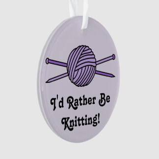 Purple Ball of Yarn & Knitting Needles (Version 2) Ornament