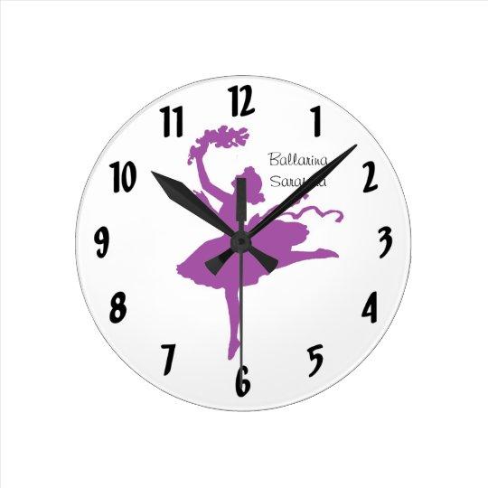 Purple Ballarina Wall Clock