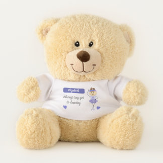 Purple Ballerina dancing personalized name Teddy Bear