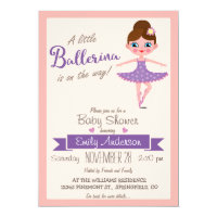 Purple Ballerina, Girl Baby Shower Invitation