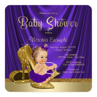 Purple Ballerina Pearls Gold Shoe Baby Shower Card