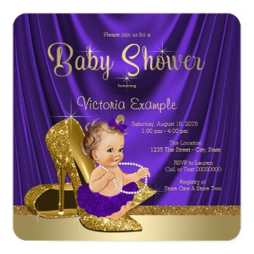Purple Ballerina Pearls Gold Shoe Baby Shower Card
