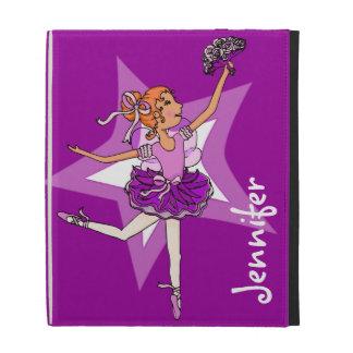 Purple ballerina princess girls ipad folio case