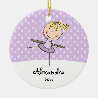 Purple Ballerina Snowflakes Personalized Christmas Ceramic Ornament